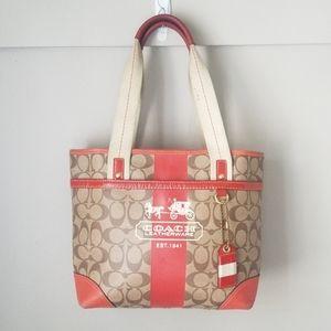 Coach tote purse coated cavnas signature